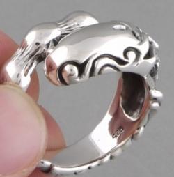 """02-Кольцо """"Череп-змея"""""""